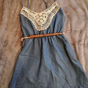 Lace Detailed fake Denim Dress